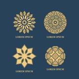 Gold mandalas or geometrical figures Royalty Free Stock Photos