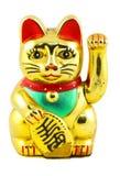 Gold Maneki Neko Japan Lucky Cat. Isolated with Clipping path Royalty Free Stock Photos