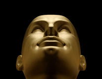 Gold mannequin head looking up Stock Images