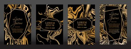 Gold marble texture and geometric frames on black backgrounds vector set. Luxury design for brochure, banner, vip invitation, cover, business card. Gold foil stock illustration