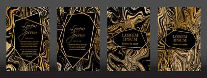 Gold marble texture and geometric frames. On black backgrounds vector set. Luxury design for brochure, banner, vip invitation, cover, business card. Gold foil stock illustration