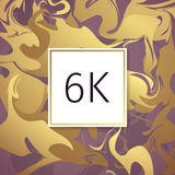 Gold Marble Vector Thanks Design Template for Network Friends and Followers. Thank you 6 K followers card. Image for Social Networ Royalty Free Stock Photos