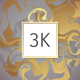 Gold Marble Vector Thanks Design Template for Network Friends and Followers. Thank you 3 K followers card. Image for Social Networ Stock Photography