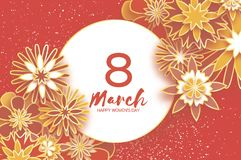 Gold 8 March. Happy Women`s Day. Trendy Mother`s Day. Paper cut Floral Greeting card. Origami flower. Text. Circle frame Stock Photos