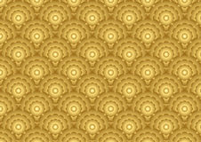 Gold Marigold Flower Pattern on Classic Style Royalty Free Stock Photo