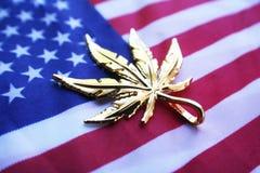 Gold Marijuana Leaf On American Flag High Quality