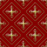 Gold and Maroon Damask Seamless Pattern. Damask seamless pattern with golden abstract design over maroon background vector illustration
