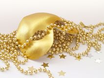 Gold Mask. Gold face mask with beads Stock Photography
