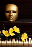 Gold mask on piano Royalty Free Stock Images
