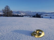 Gold mask snow Royalty Free Stock Photo