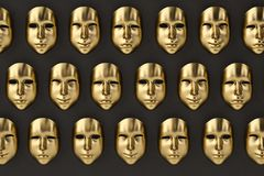 Gold mask wall.3D illustration. Gold mask wall. 3D illustration Stock Photography