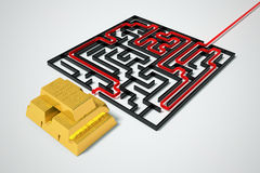 Gold maze. Stock Photos