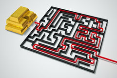 Gold maze. Stock Photography