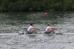 Gold-meadlists in leichten Herrendoppel Sculls, Europäer Rowi stockbild