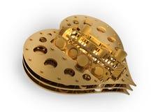 GOLD Mechanical heart V8 3d Royalty Free Stock Photo