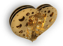 GOLD Mechanical heart V8 3d Royalty Free Stock Photos