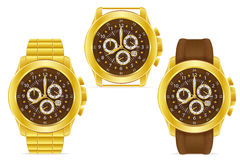 Gold mechanical wristwatch vector illustration Royalty Free Stock Images