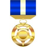 Gold Medal. A gold medal award  illustration with blank fields for entering custom text or graphics Stock Photos