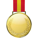 Gold medal. With laurel, isolated on white background. (3d illustration stock illustration