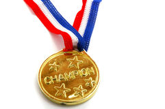 Gold medal. Gold Champion medal with stars on white Royalty Free Stock Images