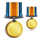 Gold medal. With ribbon on white Stock Images