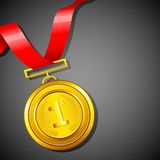 Gold Medal. Illustration of gold medal in red ribbon on abstract background Stock Photo