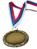 Gold medal and 3 colour ribbon stock photo