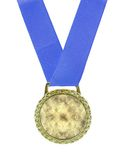 Gold Medal. Attached to a blue ribbon isolated on white Royalty Free Stock Images