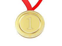 Gold medal. First place gold medal isolated on white Stock Image