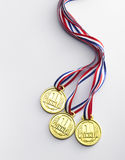 Gold medal. With ribbon on the white background Stock Photography