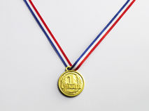 Gold medal. With ribbon on the white background Stock Image