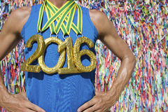 Gold Medal 2016 Athlete Brazilian Wish Ribbons Stock Image