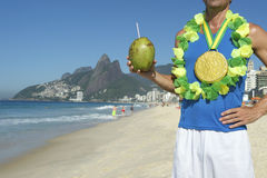 Gold Medal Athlete Celebrating with Coconut Rio Stock Photos