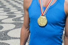 Gold Medal Athlete Rainbow Ribbon Rio Royalty Free Stock Images