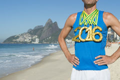 Gold Medal 2016 Athlete Standing Ipanema Beach Rio Stock Image