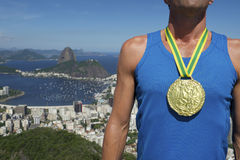 Gold Medal Athlete Standing Rio Skyline Stock Image