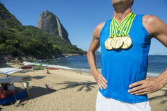 Gold Medal Athlete Standing Sugarloaf Mountain Beach Royalty Free Stock Photos