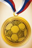 Gold Medal with Soccer Ball and Russian Ribbon Football Event, Vector Illustration. Gold medal award with a hand drawn soccer ball and ribbon with Russian colors Royalty Free Stock Photography