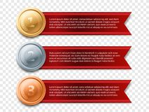 Gold medal banner vector award ribbon. Gold medal banner vector illustration. Gold, Silver, Bronze medal with red banner ribbon isolated on transparent Stock Illustration