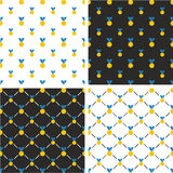 Gold Medal Big & Small Seamless Pattern Blue Color Set Stock Image