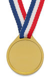 Gold Medal. Blank Gold Medal with ribbon isolated on white background Royalty Free Stock Photo
