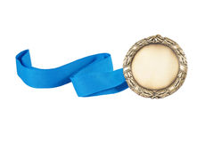 Gold medal with blue ribbon isolated Royalty Free Stock Photo