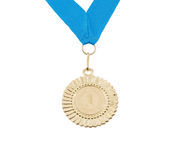Gold medal with blue ribbon isolated. On white background Royalty Free Stock Image