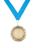 Gold medal with blue ribbon isolated Stock Photography