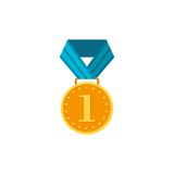 Gold medal with blue ribbon isolated on a white background. Award gold winner prize icon in flat  Royalty Free Stock Photography
