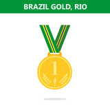 Gold medal. Brazil. Rio. Olympic games 2016. Vector illustration.Flat style. Royalty Free Stock Images