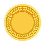 Gold Medal for the champion in the first place. Flat icon, vecto. R illustration Royalty Free Stock Photography