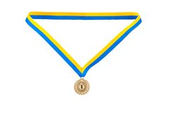 Gold medal champion at the tape Royalty Free Stock Images