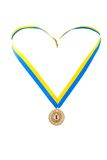 Gold medal champion at the tape. Of the country Ukraine stock image