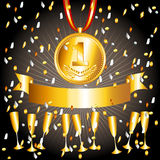 Gold medal,cups and ribbon banner. Great victory concept with gold medal, cups and ribbon banner with shiny confettis falling Royalty Free Stock Images